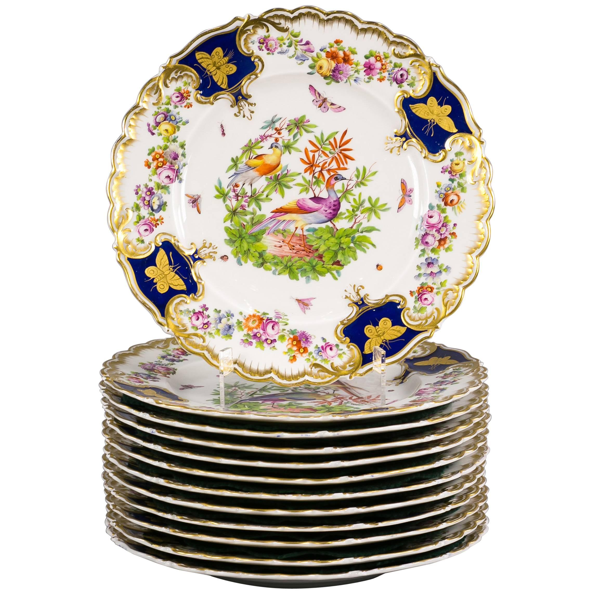 Set of 12 English Porcelain Plates, Coalbrookdale, circa 1850