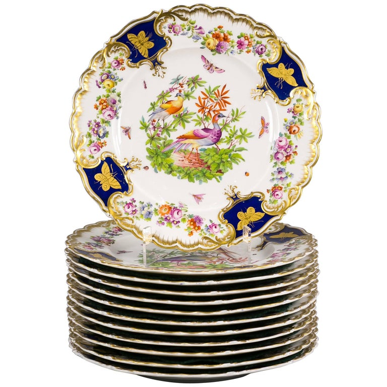 Set of 12 English Porcelain Plates, Coalbrookdale, circa 1850 For Sale