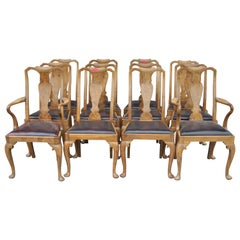 Set of 12 English Walnut Queen Anne Chairs