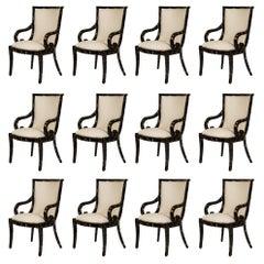 Set of 12 Enrique Garcel for Karl Springer Tessellated Horn Armchairs
