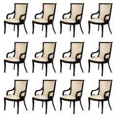 Set of 12 Enrique Garcel for Karl Springer Tessellated Horn Armchairs