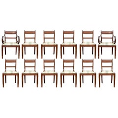 Set of 12 Fine Form 1820 Regency Mahogany Dining Chairs