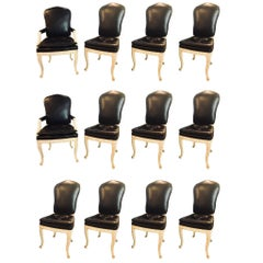 Set of 12 Fine Maison Jansen Black Leather Serge Roche Carved Dining Chairs