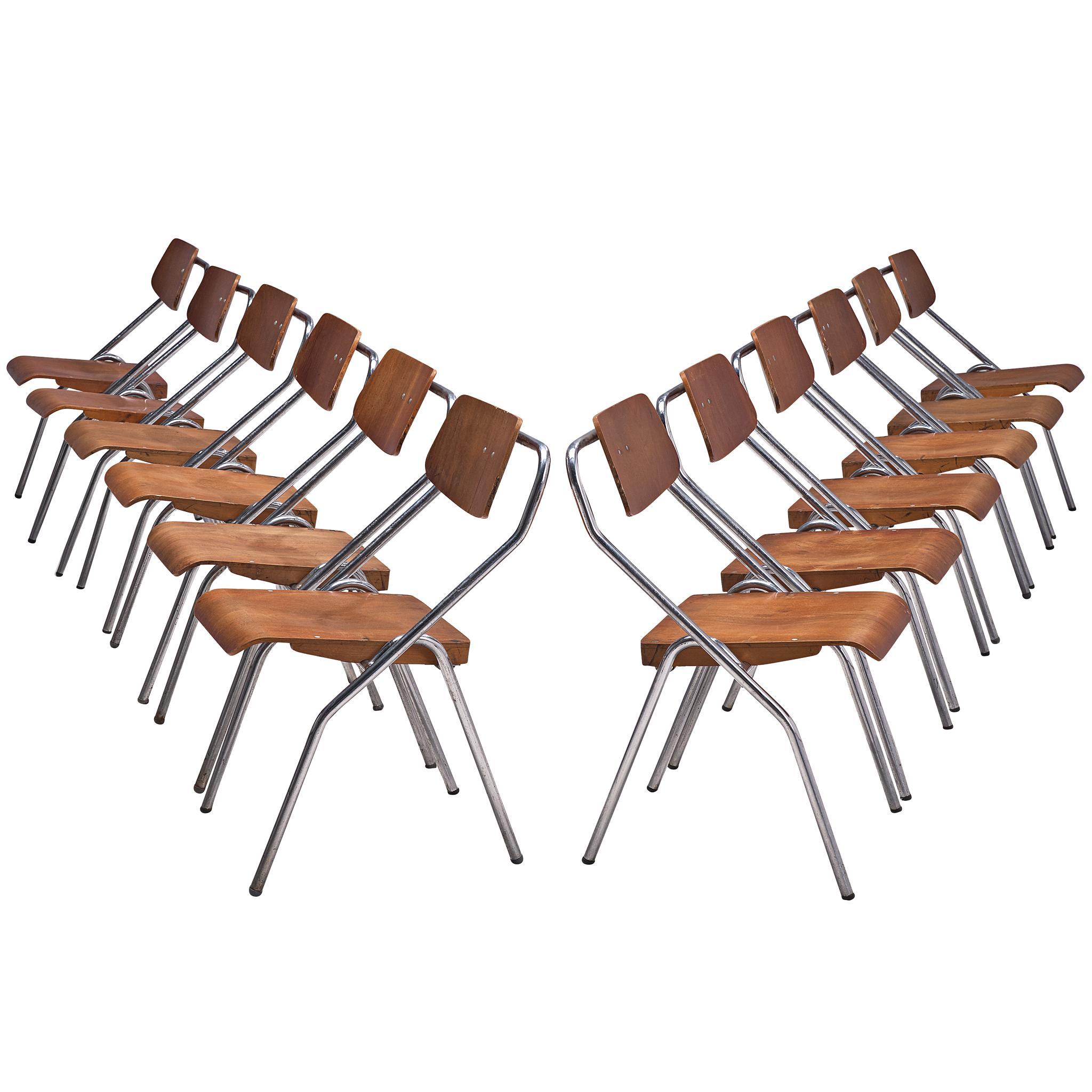 Set of Twelve Chairs with Tubular Frame
