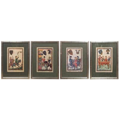 Set of 12 Framed Facsimiles of the Manesse Codex