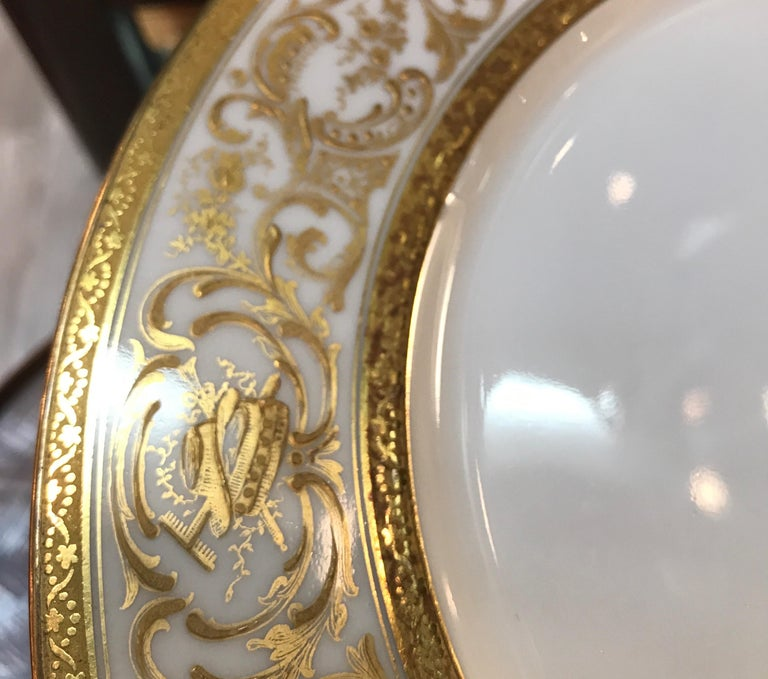 Early 20th Century Set of 12 French Antique Raised Gilt Plates, circa 1900 For Sale