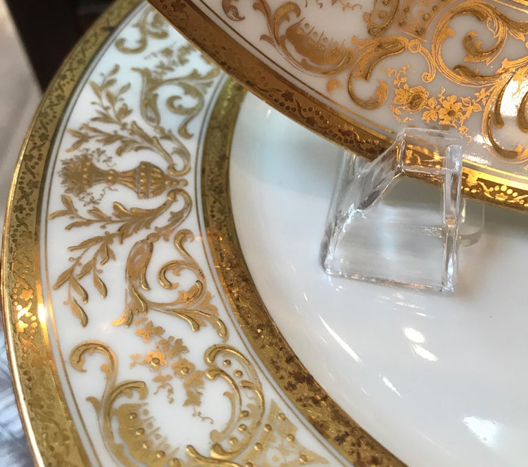 Set of 12 French Antique Raised Gilt Plates, circa 1900 For Sale 1