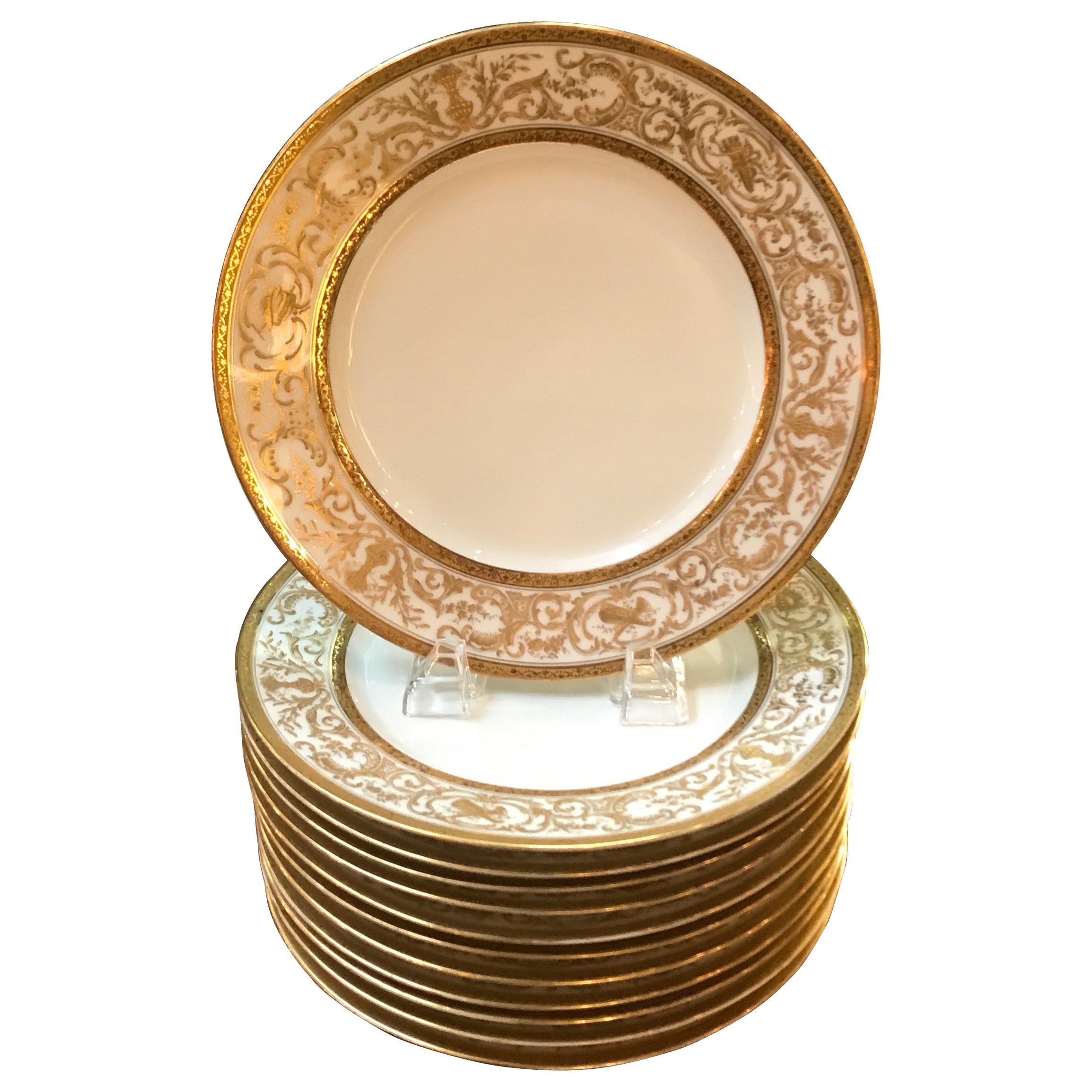 Set of 12 French Antique Raised Gilt Plates, circa 1900