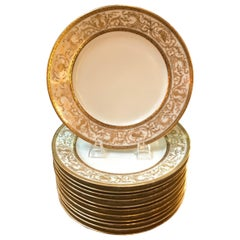 Set of 12 French Antique Raised Gilt Plates, circa 1900