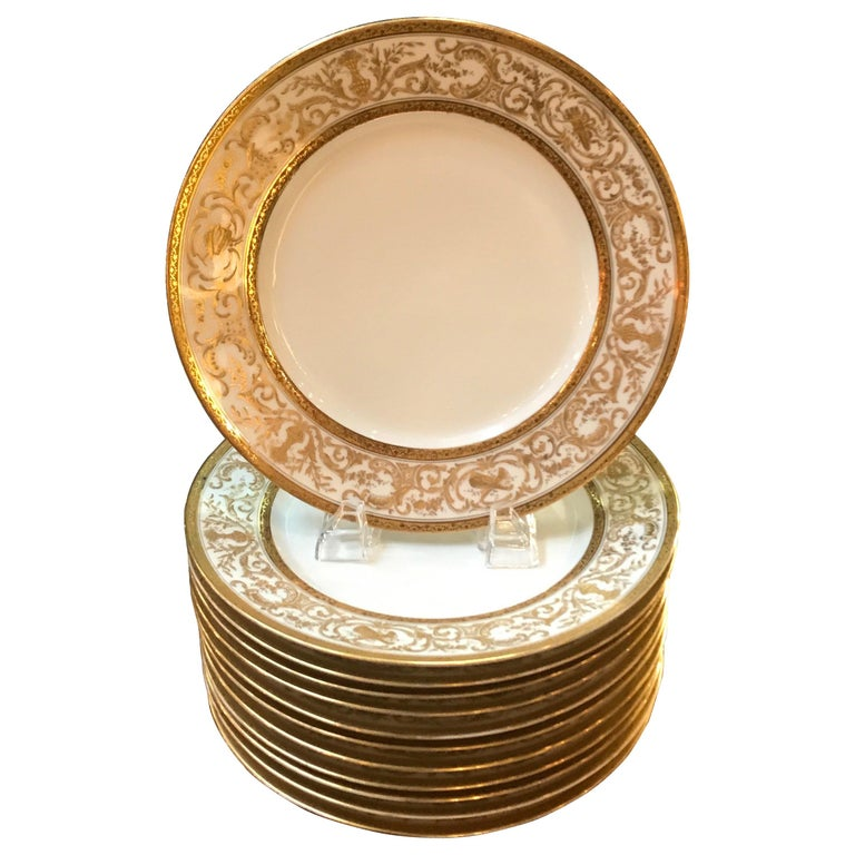 Set of 12 French Antique Raised Gilt Plates, circa 1900 For Sale