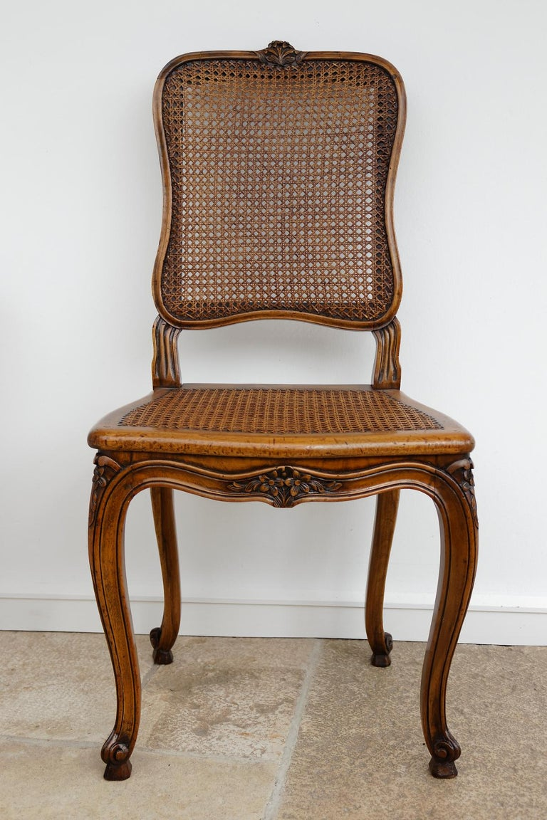 19th Century Set of 12 French Belle Époque Louis XV Style Caned Dining Chairs For Sale