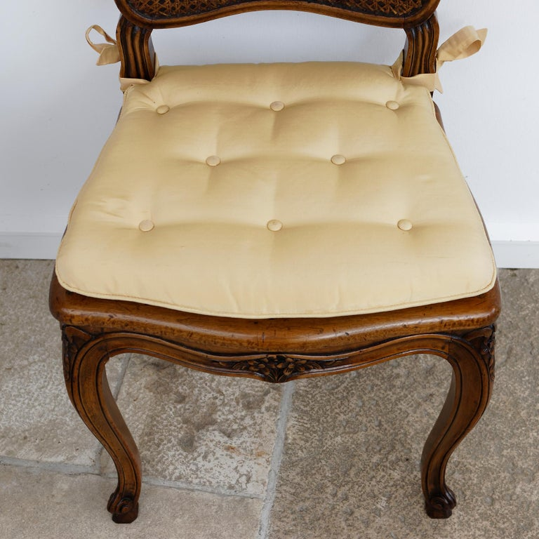 Walnut Set of 12 French Belle Époque Louis XV Style Caned Dining Chairs For Sale