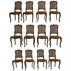 Set of 12 French Belle Époque Louis XV Style Caned Dining Chairs
