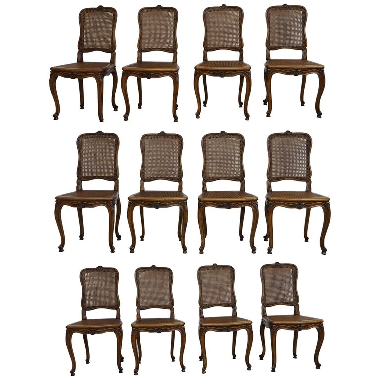 Set of 12 French Belle Époque Louis XV Style Caned Dining Chairs For Sale
