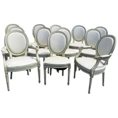 Set of 12 French White Leather Cameo Back Louis XVI Style Dining Room Chairs