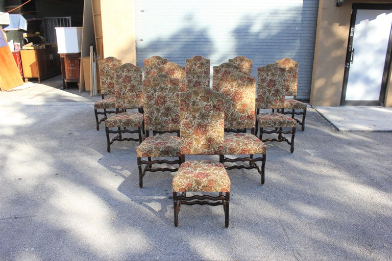 Set of 12 French Louis XIII Style Os De Mouton Dining Chairs 1900 Th Century.  For Sale 5