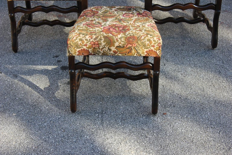 Set of 12 French Louis XIII Style Os De Mouton Dining Chairs 1900 Th Century.  For Sale 11