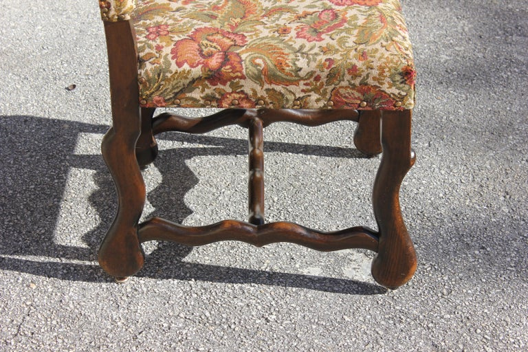 Set of 12 French Louis XIII Style Os De Mouton Dining Chairs 1900 Th Century.  For Sale 13