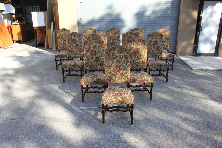 Set of 12 French Louis XIII Style Os De Mouton Dining Chairs 1900 Th Century.  For Sale 14