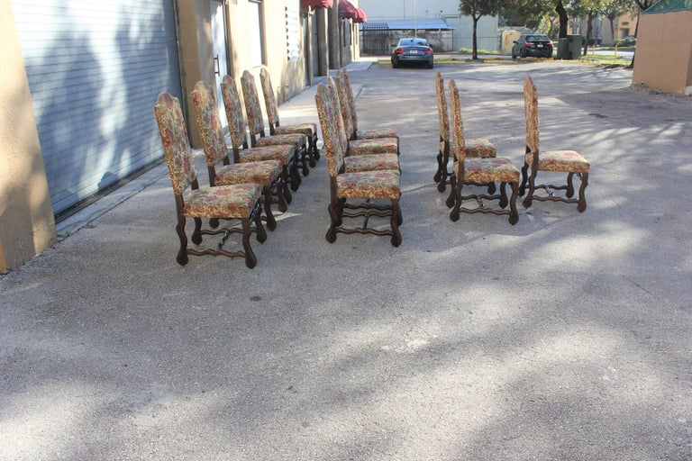 Early 20th Century Set of 12 French Louis XIII Style Os De Mouton Dining Chairs 1900 Th Century.  For Sale