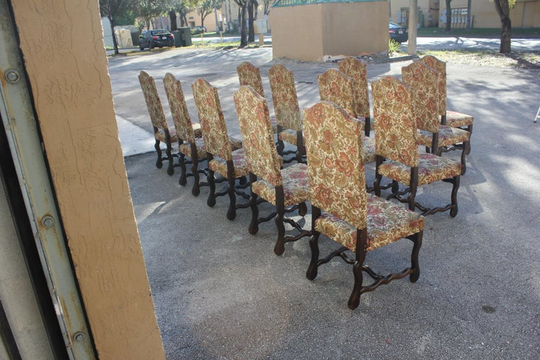 Fabric Set of 12 French Louis XIII Style Os De Mouton Dining Chairs 1900 Th Century.  For Sale