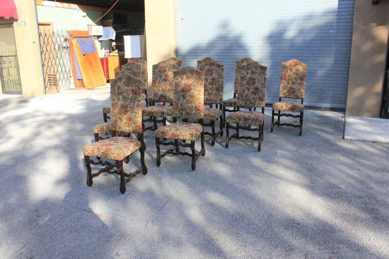 Set of 12 French Louis XIII Style Os De Mouton Dining Chairs 1900 Th Century.  For Sale 1