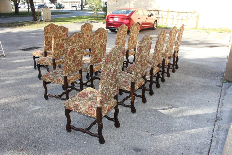 Set of 12 French Louis XIII Style Os De Mouton Dining Chairs 1900 Th Century.  For Sale 2