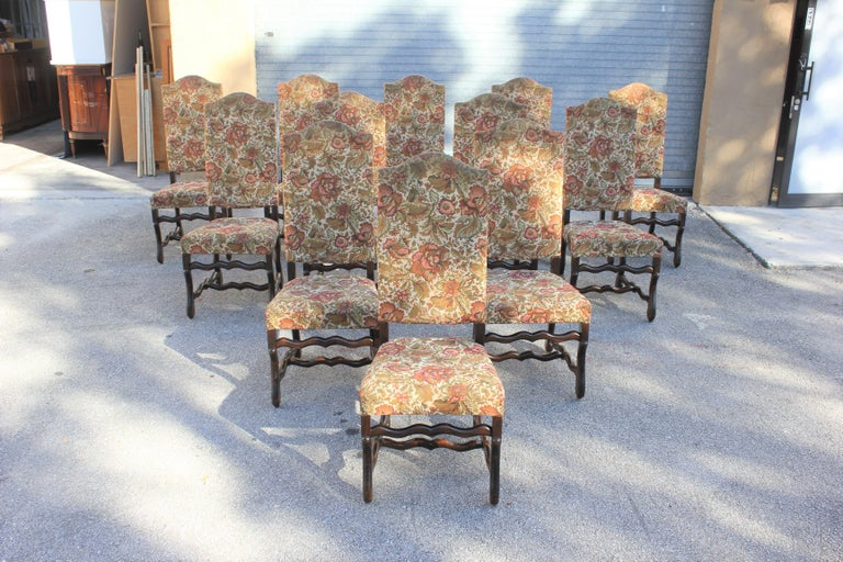Set of 12 French Louis XIII Style Os De Mouton Dining Chairs 1900 Th Century.  For Sale 3