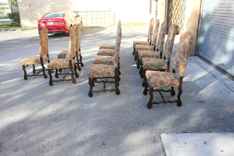 Set of 12 French Louis XIII Style Os De Mouton Dining Chairs 1900 Th Century.  For Sale 4