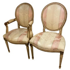 Set of 12/French Louis XVI-Style Dining Chairs, Faux Painted Cream and Bronze