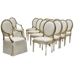 Set of 12 French Louis XVI Style Silver Dining Chairs