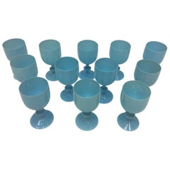 Set of 12 French Luminous Opaline Turquoise Goblets