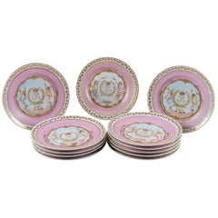 Set of 12 French Sevres Pink Ground Porcelain Painted Plates