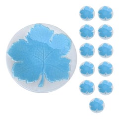Set of 12 Galvani Italian Majolica Blue Maple Leaf Dessert Plates, Marked