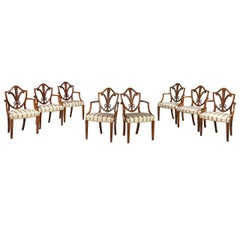 Set of 12 George III Period Satinwood Elbow Chairs by Gillows