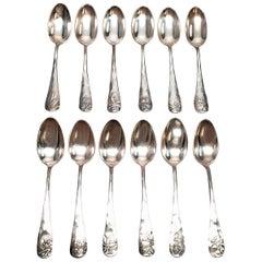 Set of 12 George Shiebler Plant Pattern Sterling Silver Demitasse Spoons