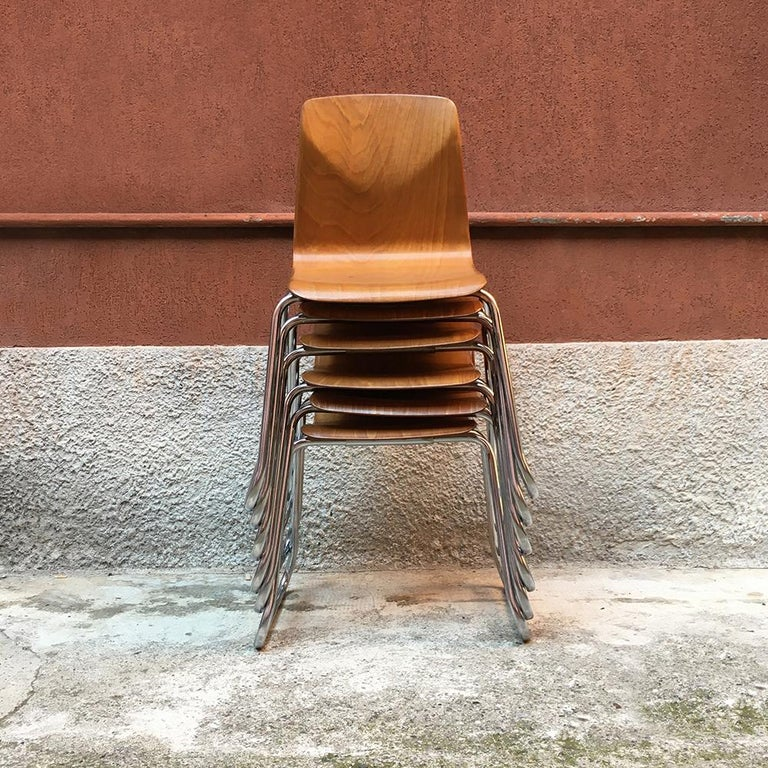 Mid-Century Modern Set of 12 German Vintage Light Wood and Chromed Steel Pagholz Chairs, 1960s For Sale