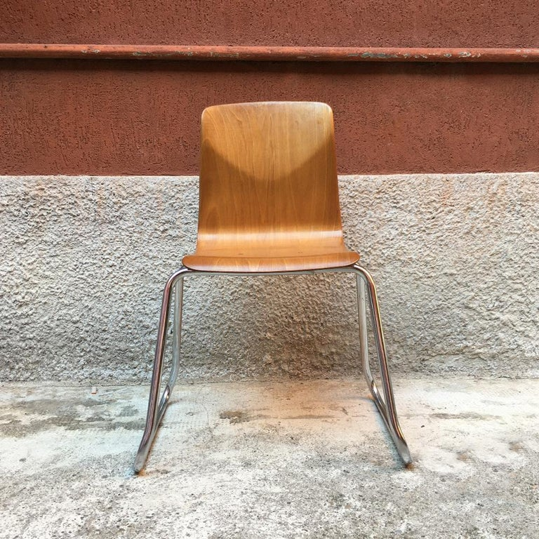 Italian Set of 12 German Vintage Light Wood and Chromed Steel Pagholz Chairs, 1960s For Sale