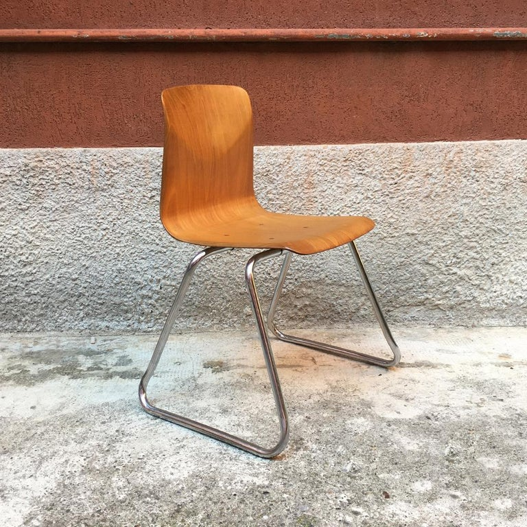 Set of 12 German Vintage Light Wood and Chromed Steel Pagholz Chairs, 1960s In Good Condition For Sale In MIlano, IT
