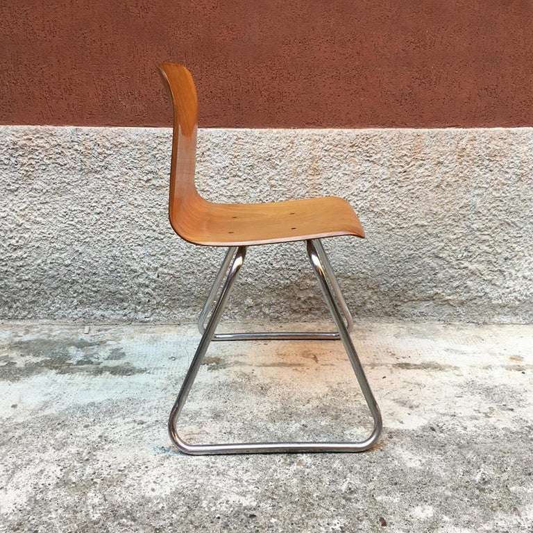 Mid-20th Century Set of 12 German Vintage Light Wood and Chromed Steel Pagholz Chairs, 1960s For Sale