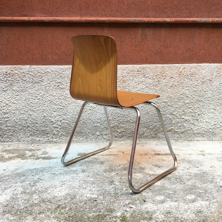 Set of 12 German Vintage Light Wood and Chromed Steel Pagholz Chairs, 1960s For Sale 1