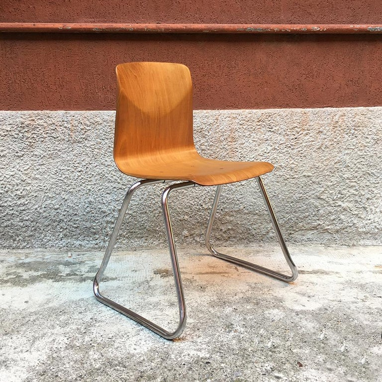 Set of 12 German Vintage Light Wood and Chromed Steel Pagholz Chairs, 1960s For Sale 2