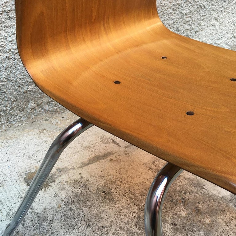 Set of 12 German Vintage Light Wood and Chromed Steel Pagholz Chairs, 1960s For Sale 3