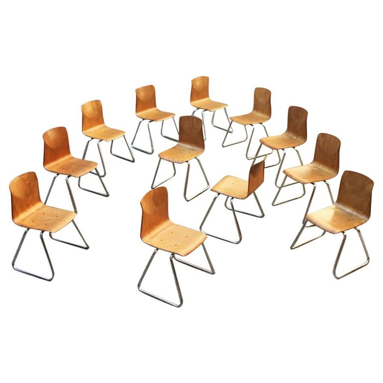 Set of 12 German Vintage Light Wood and Chromed Steel Pagholz Chairs, 1960s For Sale
