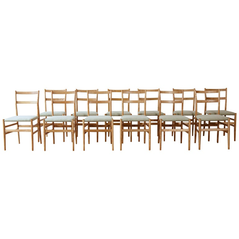 Set of 12 Gio Ponti Leggera Model 646 Dining Chairs for Cassina, Italy, 1950s For Sale