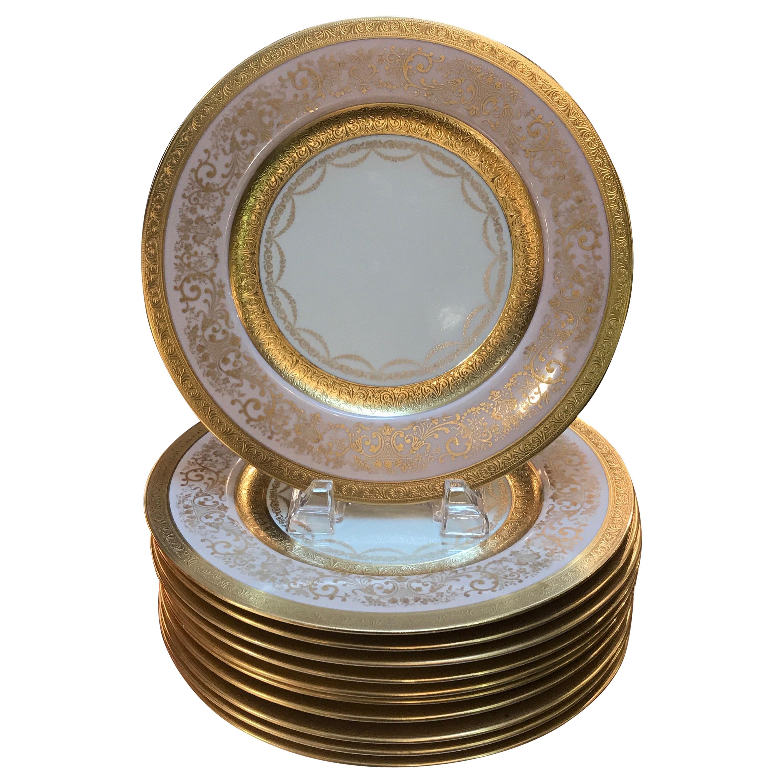 Set of 12 Gold Encrusted Service Dinner Plates