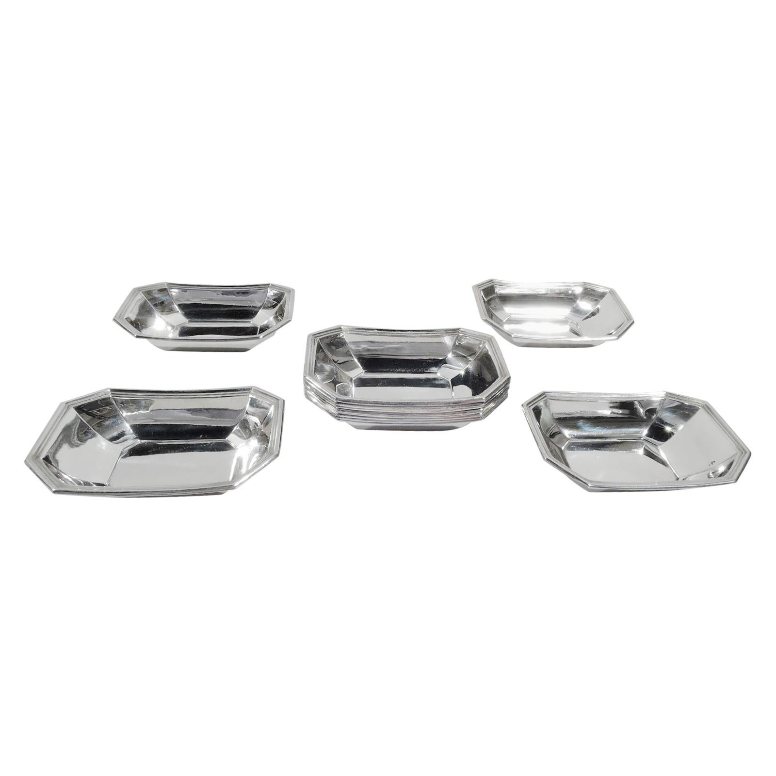 Set of 12 Gorham Fairfax Art Deco Sterling Silver Nut Dishes