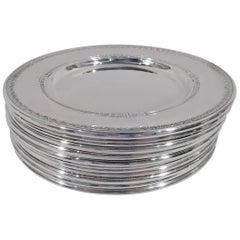 Set of 12 Gorham Shamrock Sterling Silver Bread & Butter Plates