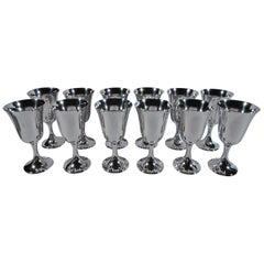 Set of 12 Gorham Sterling Silver Goblets in Desirable Puritan 272 Pattern