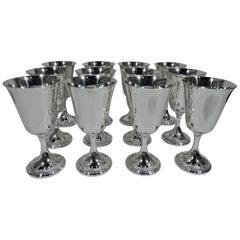Set of 12 Gorham Sterling Silver Modern Georgian Goblets